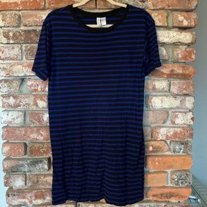 H&M Divided Blue and Black Striped T-Shirt Dress S